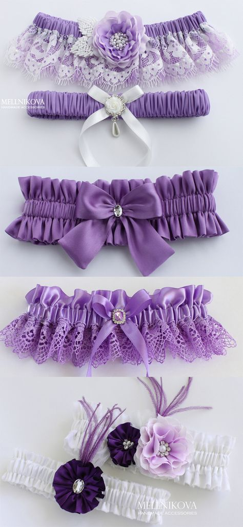 Purple flower bridal garter (design by MELLNIKOVA) #garter #garterset #wedding weddinggarter #violetgarter #bridalgarter