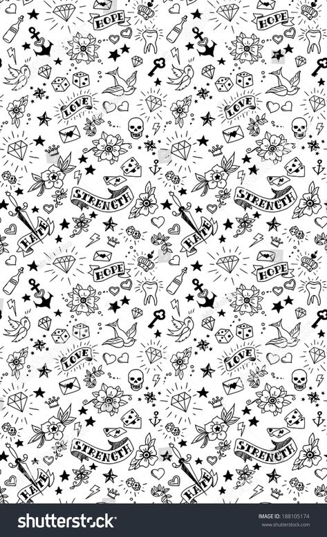 old school tattoos elements pattern, vector illustration