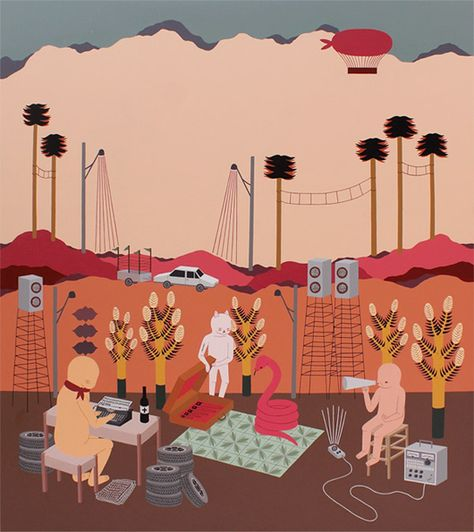 Talita Hoffmann's folky, weirdo urban landscapes remind me of Esther Pearl Watson