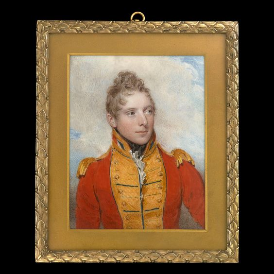 Portrait miniature of Captain James Ludlow Stawell (1783-1832) wearing the uniform of the 2nd Life Guards, 1806 - William Wood (1769-1810) - Oil on ivory  Rectangular, 4 1/8 x 3 ¼ in (105 x 82 mm), inscription:   'DJLS/ By/ Will: Wood,/ of/ Cork Street/ London/ 1806/ J.L. Stawell Esq.',   Ormolu frame with foliate border and inner gilded metal mount.