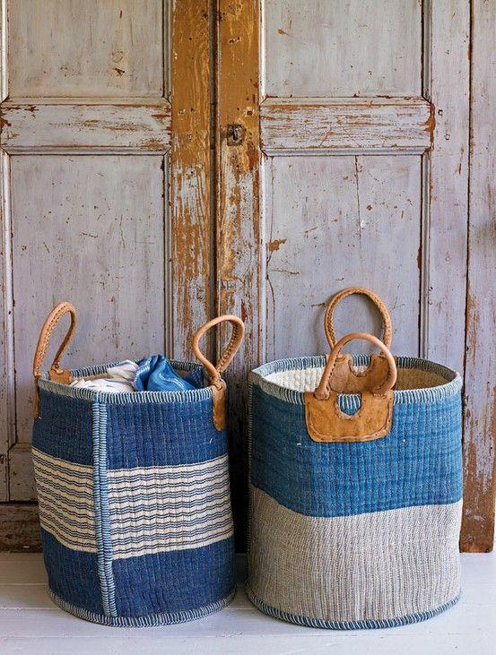 Indigo woven baskets