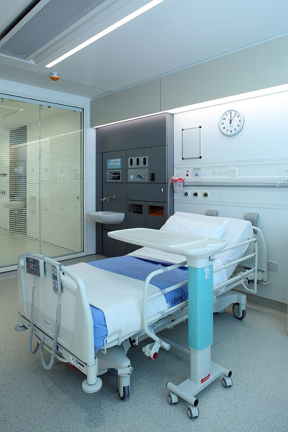 Ulster hospital single bedrooms with large corridor windows rory moore photography