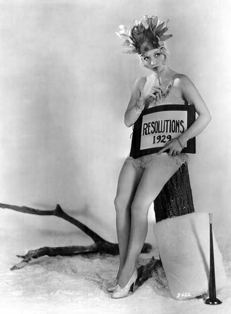 Alice White pondering her 1929 New Year's resolutions in this vintage pinup