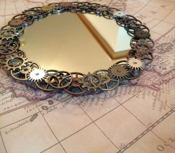 Steampunk mirror decorative wall hanging by KaoticKreeations, $40.00