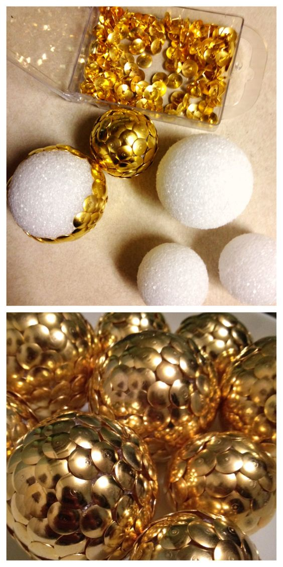 dollar store gold thumbtacks + styrofoam balls = awesomeness