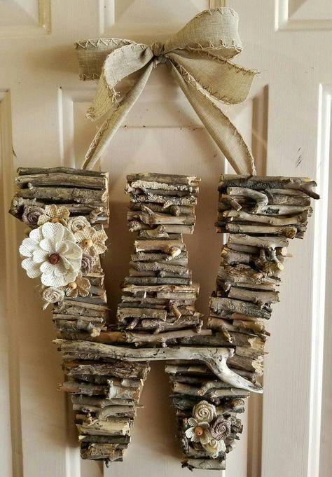 Initial Door Hanger, Rustic, Door Hanger, Monogram, Birthday, Home Decor, Bridal Shower, Wood Anniversary, Burlap, Photo Prop, Woodland by CreativelyCraftyFind on Etsy #easyrusticdecor #WesternDecorDIY