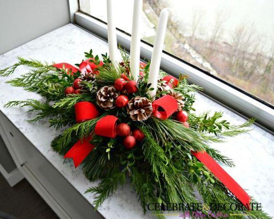 Beautiful Evergreen Christmas Centerpiece