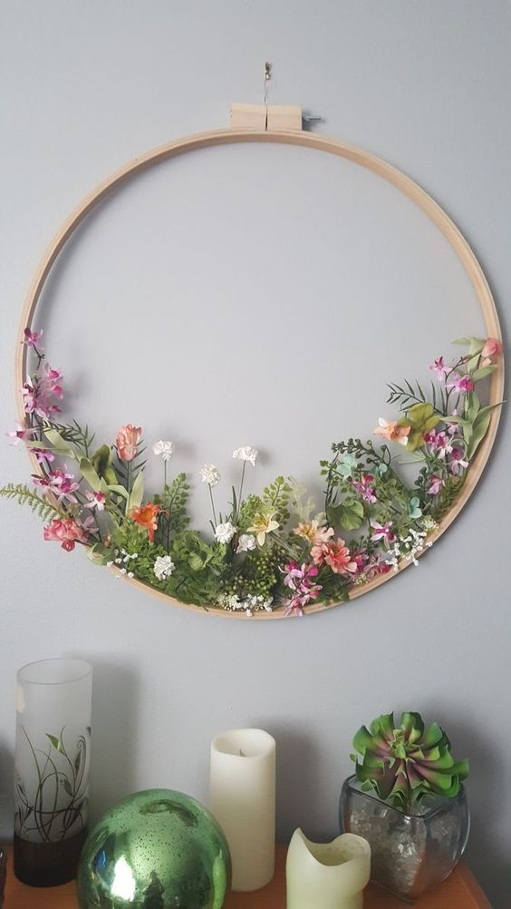 Embroidery hoop wildflower wreath