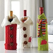 Wine Bottle Covers (Red Button/Fur, Ivory Button/Fur, Green/Scarf)
