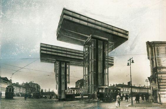 Эль Лисицкий. Проект небоскреба на площади у Никитских ворот (1924-1925)