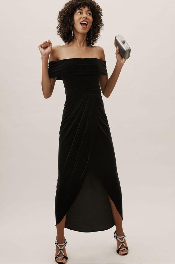 Edison Velvet Dress Black in Occasion Dresses | BHLDN