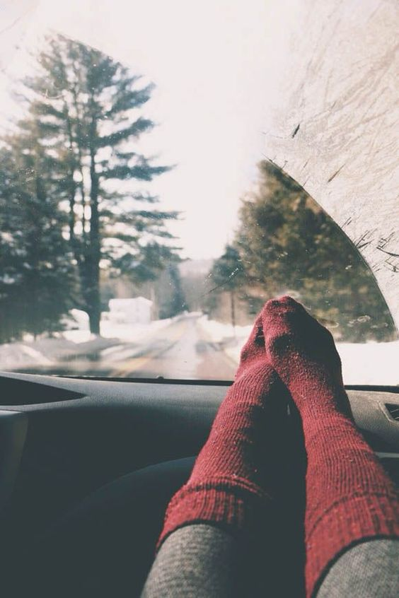Long drives and cozy socks #coldweather
