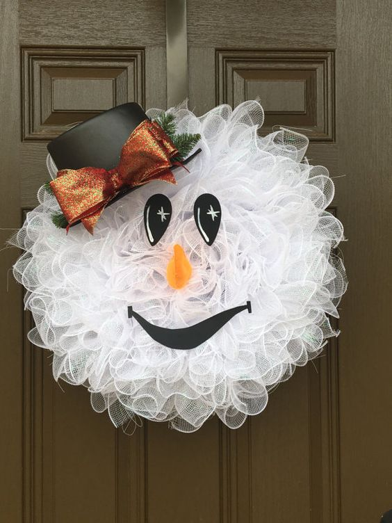 Snowman Wreath Christmas Wreath di CharlotteRoseWreaths su Etsy