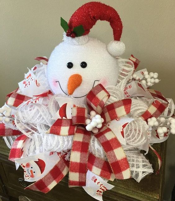 Snowman Centerpiece, Snowman Decor, Snowman Wreath, Winter Centerpiece, Snowman Table Decor, Red and