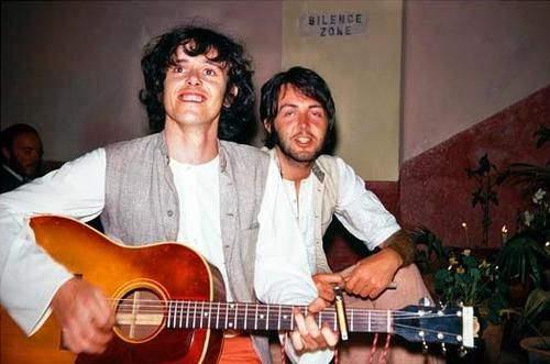 "A scruffy and suntanned Paul with pal, Folk singer Donovan Leitch at a Transcendental Meditation Retreat in Rikesh, 1968. Donavan had a number of hits on both sides of the Atlantic, including 'Sunshine Superman"" ""Catch the Wind"" and the philosophical ""There is a Mountain."" Paul can be heard yelling in the background during the middle-eight of ""Mellow Yellow,"" the intro of which was borrowed from Paul's ""Good Day Sunshine"""