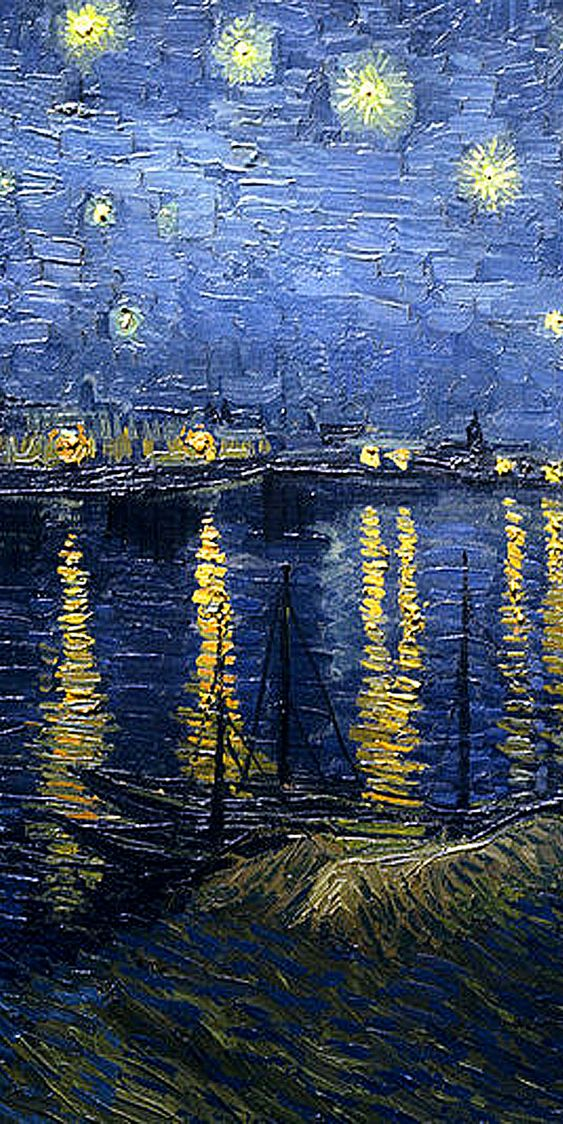 Vincent Van Gogh 'Starry Night over the Rhone' detail center