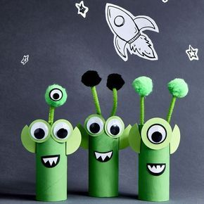 Turn cardboard tubes into friendly aliens. Let your creativity go wild with this project!