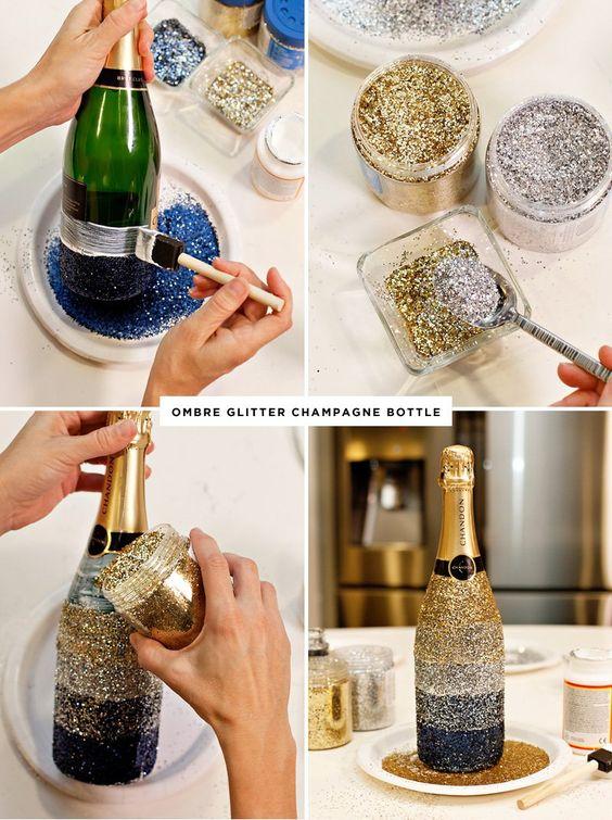 Tabella di Capodanno a mezzanotte Brindisi + Bottiglie di champagne con sfumature ombre