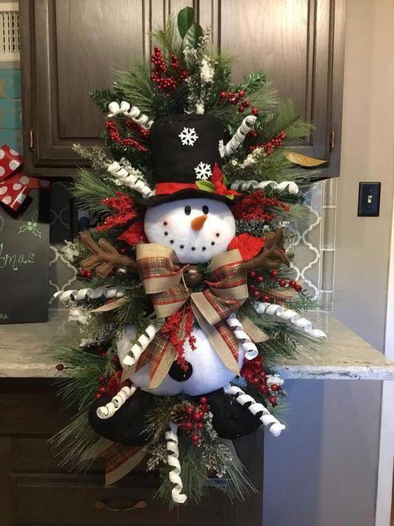 """Snowman Wreath, Christmas wreath, Christmas Door wreath, Door Decor, christmas Decor About 38""""x24"""" #christmasdecorations"""