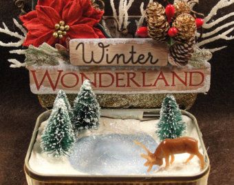 Winter Wonderland Christmas Nature Ice Skating Rink Pond Altoids Tin Shadow Box Decoration