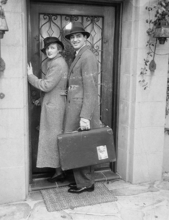 American actors Cary Grant and Virginia Cherrill arrive in Rome for their honeymoon, circa 1934. #â¤ï¸â¤ï¸â¤ï¸