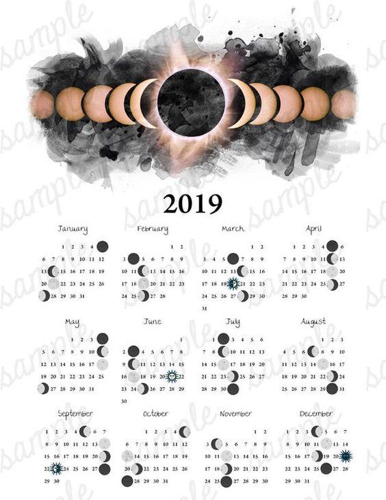 2019 Moon Phase Calendar Eclipse Equinox Solstice Astronomy | Etsy