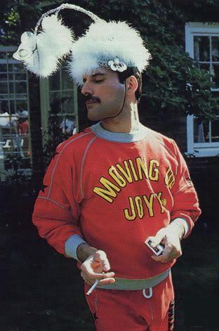 Freddie Mercury Clowning around a bit. He loved jokes, mischief, had a great sense of humor, & was very playful.