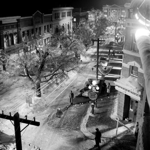 The set for Bedford Falls (It's a Wonderful Life), 1946  via life