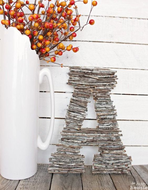 Easy DIY Craft with found objects - learn how to make your own Twig Letters or a Twig Monogram tutorial at The Happy Housie #twigcrafts #naturecrafts #falldecor