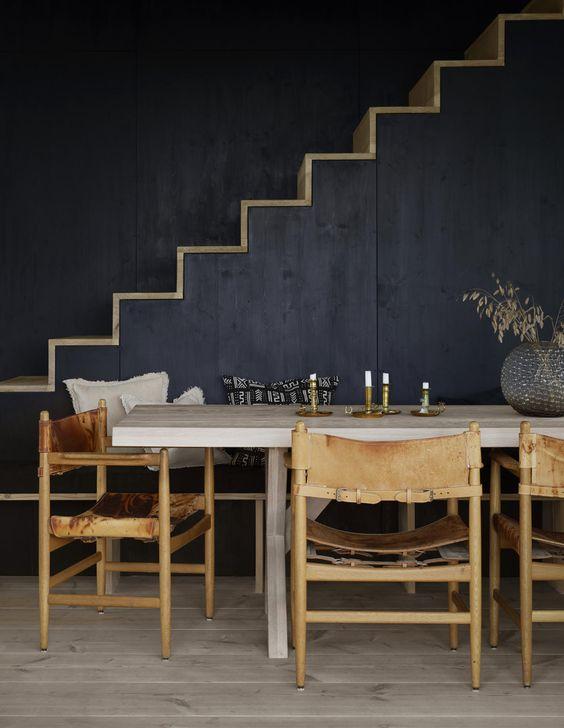 Shou sugi ban / bois brulé + dark colors #decor #moodboard