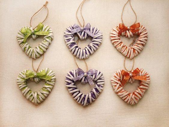 Set wicker heart ornaments decorative Christmas - Boho heart Christmas tree decoration - Christmas t