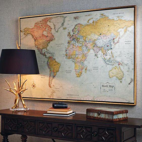 Heirloom Antiqued Linen Magnetic Map
