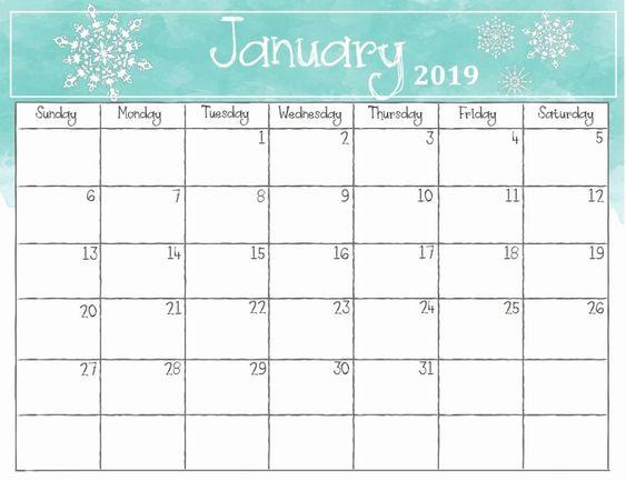 Cute January 2019 Floral Calendar