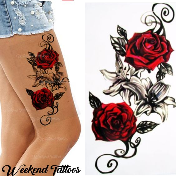 8d2c13718 Details about Red Roses Flower Temporary Tattoos Stickers Body Art 3D Rose  Tatoo Waterproof UK