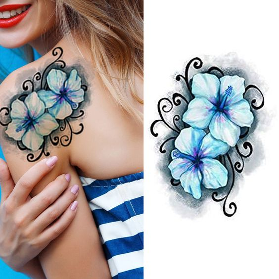 Blue Hawaiian Hibiscus Flower Temporary Tattoos Stickers Body Art