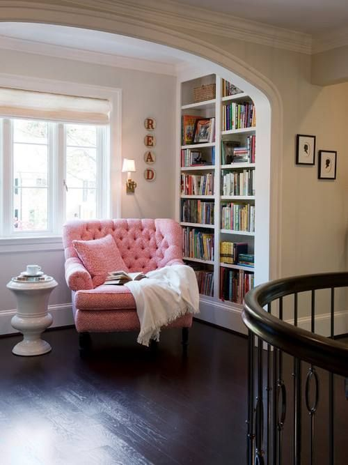 Book Nook... Oh goodness, I want it. Great idea for the landing with a chair in a different color. :)