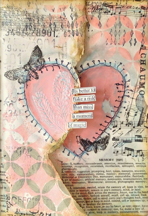 Love the TCW 268s Mini Peacock Feather in the heart - ART JOURNAL PAGE | HEART | Nika In Wonderland Art Journaling and Mixed Media Tutorials.