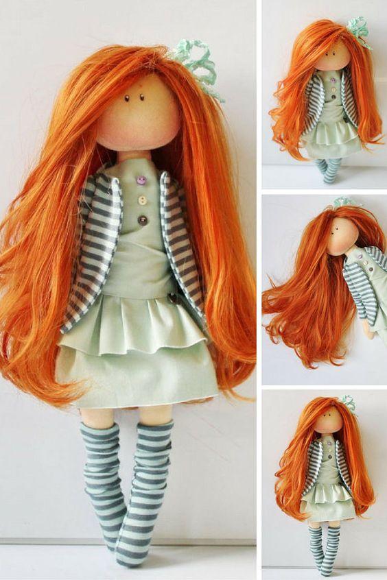 Fabric doll Lady doll Textile doll Rag doll by AnnKirillartPlace