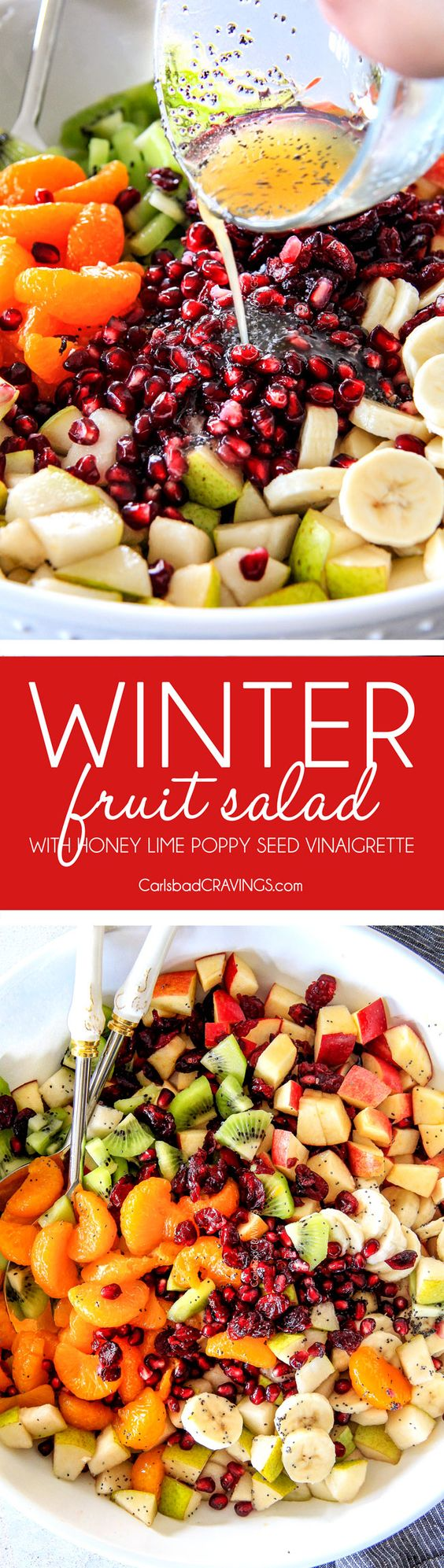 Irresistibly delicious, fresh and vibrant Winter Fruit Salad with Honey Lime Poppy Seed Vinaigrette is simple to whip together but can't stop eating delicious! It makes the perfect Thanksgiving or Christmas side! #fruitsalad #thanksgivingsides