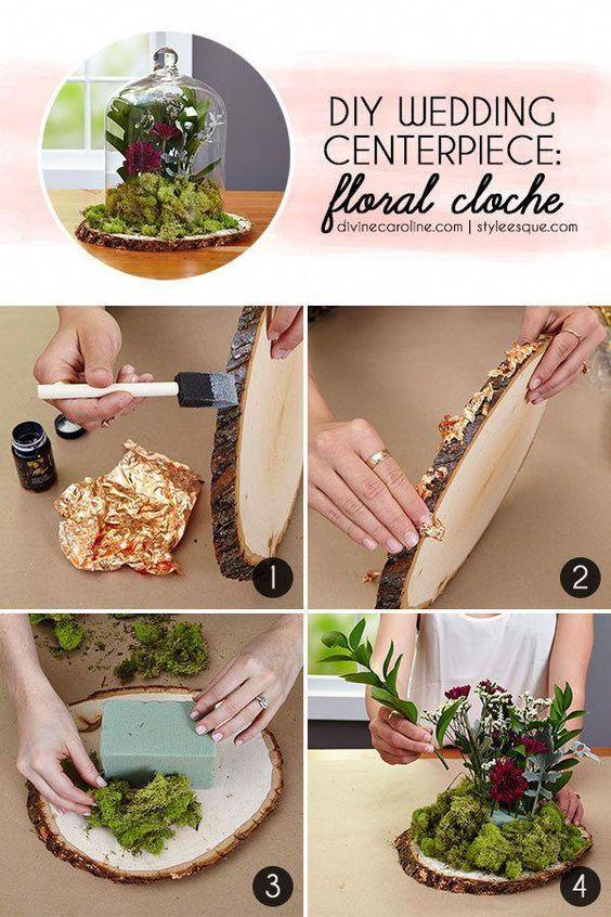 DIY Floral Cloche Centerpiece Step-by-Step #stepbystepweddingplanning