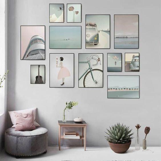 Posterwand van verschillende Vissevasse posters.  #vissevasse #poster #pastel #muurdecoratie #wanddecoratie #deensdesign #byjensen