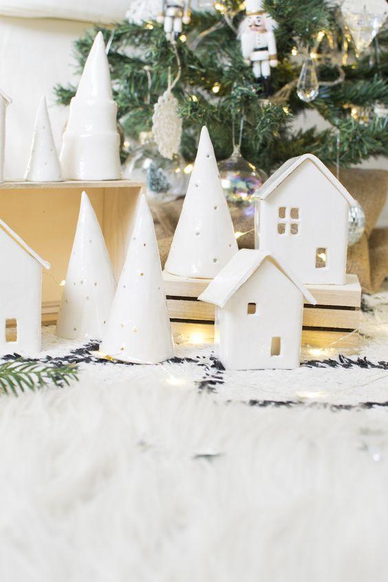 DIY sapins et maisonnettes de NoÃ«l comme des céramiques en pâte autodurcissante / www.cbyclemence.com / #cbyclemence #diy #noel #diynoel #christmasdiy #christmas #photophore #decodenoel #pateautodurcissante #giotto #ceramique