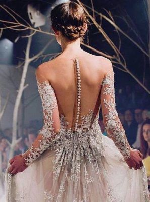 Awesome Sheer Floral Embroidered Long-Sleeve Wedding Dress