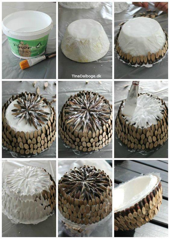 Træskål lavet med træstykker - træmix og paverpol kan købes på www.kreahobshop.dk