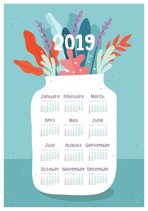 2019 One Page Calendar With Flowers