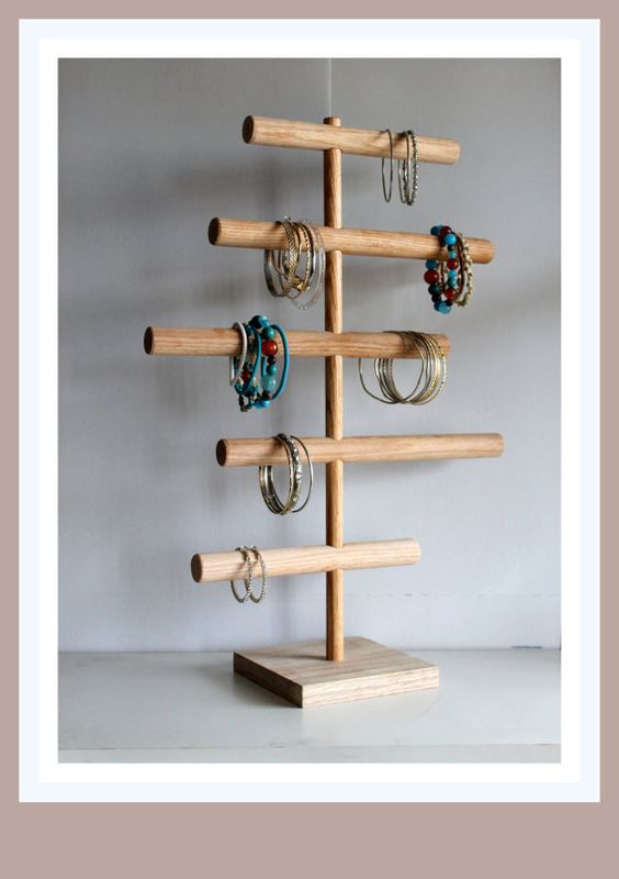 Five Tier Bracelet Holder- Cascading Organizer Jewelry Display Stand, Craft Show Retail Rack Watches Mens Baby Headband Holder Custom Colors