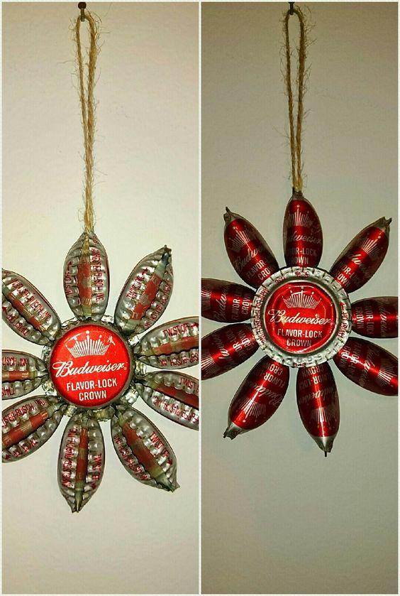 Beer Cap Christmas Ornament, front & back sides