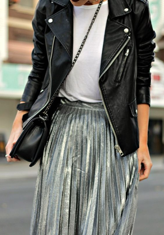 How to rock the metallic trend this season with a pleated silver skirt