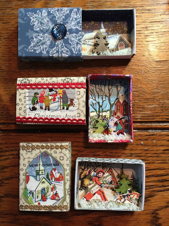 Christmas Matchbox Scenes made by Jane Corbett