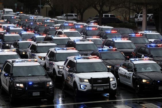 Hundreds of police officers from across the country along with members of the public came out to pay their respects.